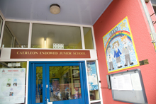 Entrance to Charles Williams Church in Wales Primary School